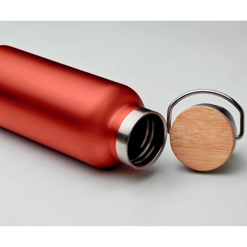 Bamboe bidons thermobussen met deksel 500 ml